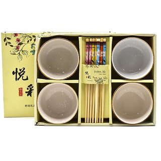 Chinese Bowl Sets with Chopsticks - Set of 4 - Floural Print