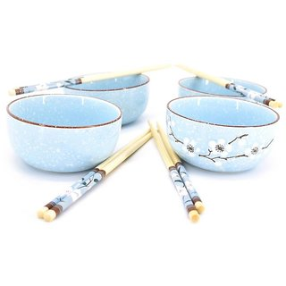 Chinese Bowl Sets with Chopsticks - Set of 4 - Blue