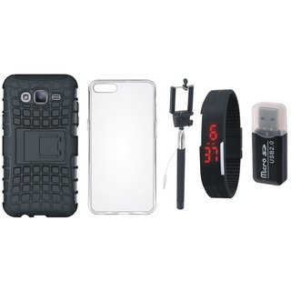 Moto G4 Shockproof Tough Defender Cover with Memory Card Reader, Silicon Back Cover, Selfie Stick and Digtal Watch