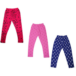 IndiWeaves Girls Super Soft and Stylish Cotton Printed Churidar Legging(Pack of 3)_Multicolor_1-3 Years_714203738-IW-P3-22