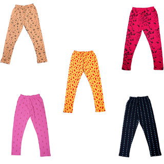 IndiWeaves Girls Super Soft and Stylish Cotton Printed Churidar Legging(Pack of 5)_Multicolor_1-3 Years_7141819203638-IW-P5-22