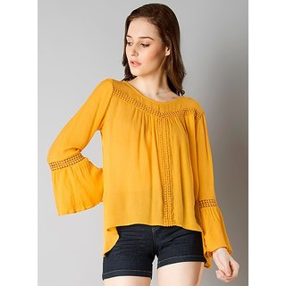 9020e2a1a689e Buy Raabta Mustard Bell Sleeve Top with Lesho Online - Get 60% Off