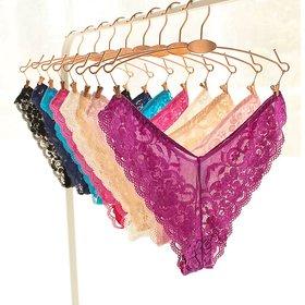 VeroniQ - Ultra Soft V- Back Floral Soft Lace Panty/Underwear - 3 QTY