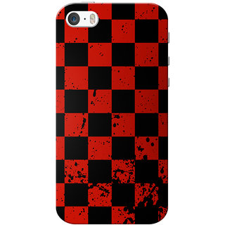 huge selection of 3a606 a7e81 iPhone 5 Case, iPhone 5S Case, iPhone SE Case, Red Black Checks Slim Fit  Hard Case Cover/Back Cover for iPhone 5/5s/SE