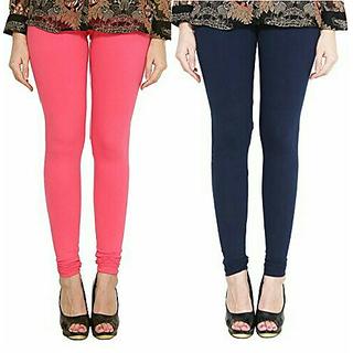 Alishah Cotton Lycra Premium Leggings For Women And Girl Bubblegum Pink Navy Blue