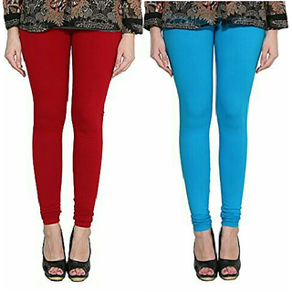 Alishah Cotton Lycra Premium Leggings For Women And Girl Blood Red Dark Sky Blue