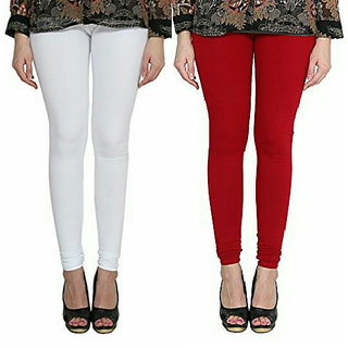 Alishah Cotton Lycra Premium Leggings For Women And Girl White Blood Red