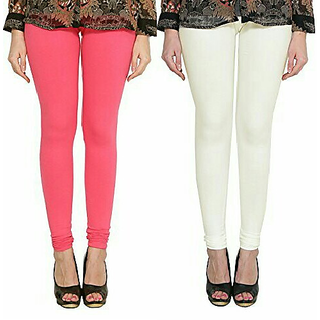 Alishah Cotton Lycra Premium Leggings For Women And Girl Bubblegum Pink Off White
