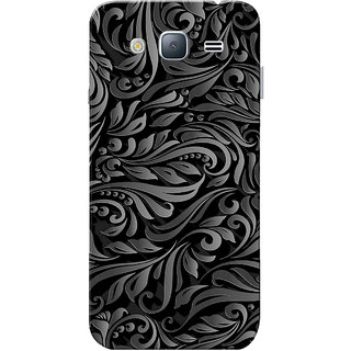 Galaxy J3 2016 Case, Leafes Design Grey Black Slim Fit Hard Case Cover/Back Cover for Samsung Galaxy J3 2016/J320F/DD