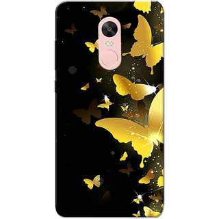 Redmi Note 4, Redmi Note 4X Case, Butterflies Golden Black Slim Fit Hard Case Cover/Back Cover for Redmi Note 4/Redmi Note 4X