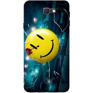 Galaxy J7 Prime Case, Ek Villain Smiley Yellow Blue Slim Fit Hard Case Cover /