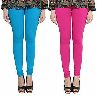 Alishah Cotton Lycra Premium Leggings For Women And Girl Dark Sky Blue Magenta