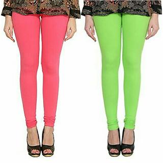 Alishah Cotton Lycra Premium Leggings For Women And Girl Bubblegum Pink Parrot Green
