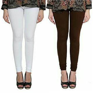 Alishah Cotton Lycra Premium Leggings For Women And Girl White Brown