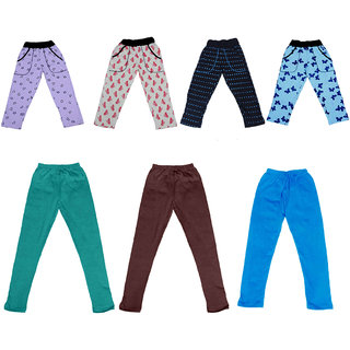 IndiWeaves Girls Combo Pack(Pack of 4 Printed Lower/Tarck Pants With 3 Cotton Leggings)_Multicolor_2-3 Years_36022232427714111315-IW-G-P7-22