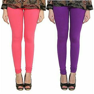 Alishah Cotton Lycra Premium Leggings For Women And Girl Bubblegum Pink Purple