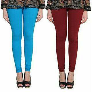 Alishah Cotton Lycra Premium Leggings For Women And Girl Dark Sky Blue Maroon