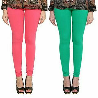 Alishah Cotton Lycra Premium Leggings For Women And Girl Bubblegum Pink Rama Green