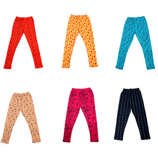 IndiWeaves Girls Super Soft and Stylish Cotton Printed Churidar Legging(Pack of 6)_Multicolor_1-3 Years_714161718192036-IW-P6-22
