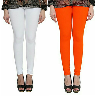 Alishah Cotton Lycra Premium Leggings For Women And Girl White Dark Orange