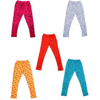 IndiWeaves Girls Super Soft and Stylish Cotton Printed Legging(Pack of 5)_Yellow/Orange/Blue/Pink_1-3 Years_7141816172021-IW-P5-22