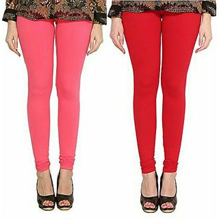 Alishah Cotton Lycra Premium Leggings For Women And Girl Bubblegum Pink Red