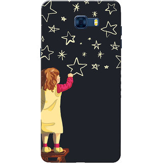 Galaxy C7 Pro Case, Twinkle Star Black Slim Fit Hard Case Cover/Back Cover for Samsung Galaxy C7 Pro