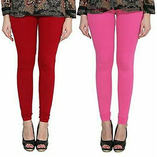Alishah Cotton Lycra Premium Leggings For Women And Girl Blood Red Hot Pink