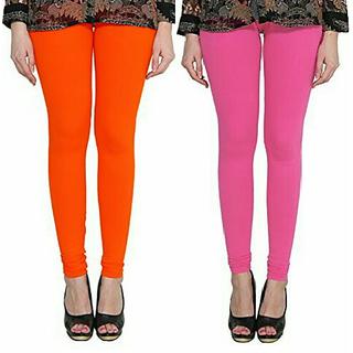 Alishah Cotton Lycra Premium Leggings For Women And Girl Dark Orange Hot Pink