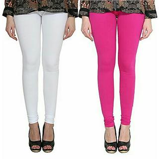 Alishah Cotton Lycra Premium Leggings For Women And Girl White Magenta