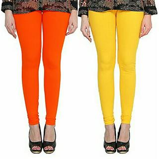 Alishah Cotton Lycra Premium Leggings For Women And Girl Dark Orange Hot Yellow