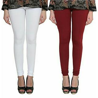 Alishah Cotton Lycra Premium Leggings For Women And Girl White Maroon