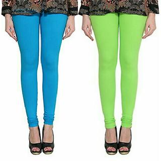 Alishah Cotton Lycra Premium Leggings For Women And Girl Dark Sky Blue Parrot Green