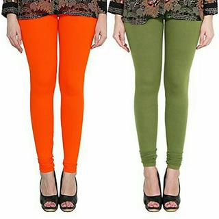 Alishah Cotton Lycra Premium Leggings For Women And Girl Dark Orange Mehandi Green