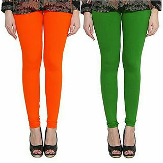 Alishah Cotton Lycra Premium Leggings For Women And Girl Dark Orange Mirchi Green