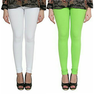 Alishah Cotton Lycra Premium Leggings For Women And Girl White Parrot Green