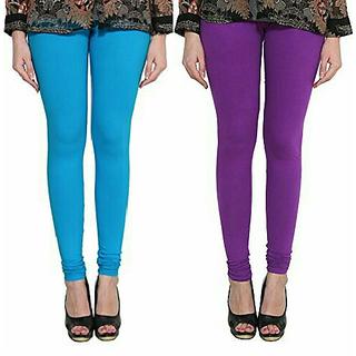 Alishah Cotton Lycra Premium Leggings For Women And Girl Dark Sky Blue Purple