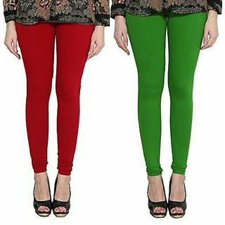 Alishah Cotton Lycra Premium Leggings For Women And Girl Blood Red Mirchi Green