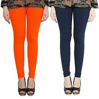 Alishah Cotton Lycra Premium Leggings For Women And Girl Dark Orange Navy Blue