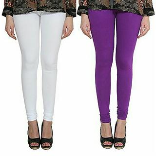 Alishah Cotton Lycra Premium Leggings For Women And Girl White Purple