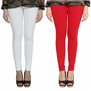 Alishah Cotton Lycra Premium Leggings For Women And Girl White Red