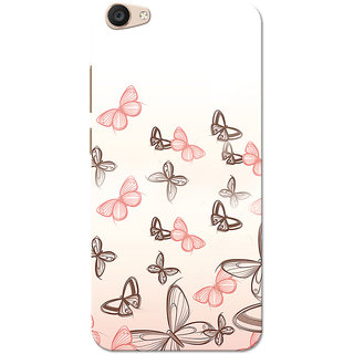 Vivo V5 Plus Case, Pink Butterfly White Slim Fit Hard Case Cover/Back Cover for Vivo V5 Plus