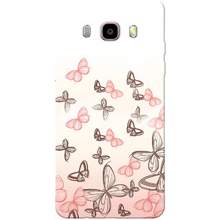 Galaxy J7 2016 Case, Galaxy On8 Case, Pink Butterfly White Slim Fit Hard Case Cover/Back Cover for Samsung Galaxy On8/ J7 2016