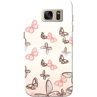 Galaxy S7 Case, Pink Butterfly White Slim Fit Hard Case Cover/Back Cover for Samsung Galaxy S7