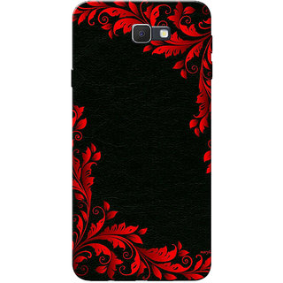 Galaxy J7 Prime Case, Red Black Floral Design Slim Fit Hard Case Cover/Back Cover for Samsung Galaxy J7 Prime (G610F/DD)