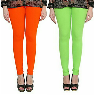 Alishah Cotton Lycra Premium Leggings For Women And Girl Dark Orange Parrot Green