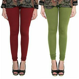 Alishah Cotton Lycra Premium Leggings For Women And Girl Maroon Mehandi