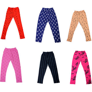 IndiWeaves Girls Super Soft and Stylish Cotton Printed Churidar Legging(Pack of 6)_Multicolor_1-3 Years_714161935363738-IW-P6-22