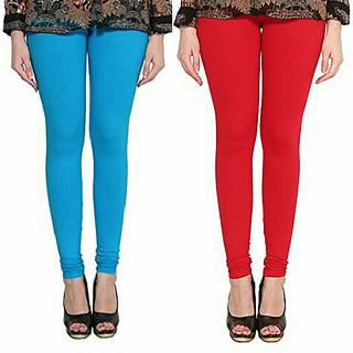 Alishah Cotton Lycra Premium Leggings For Women And Girl Dark Sky Blue Red