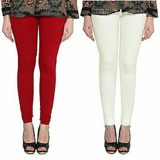 Alishah Cotton Lycra Premium Leggings For Women And Girl Blood Red Off White